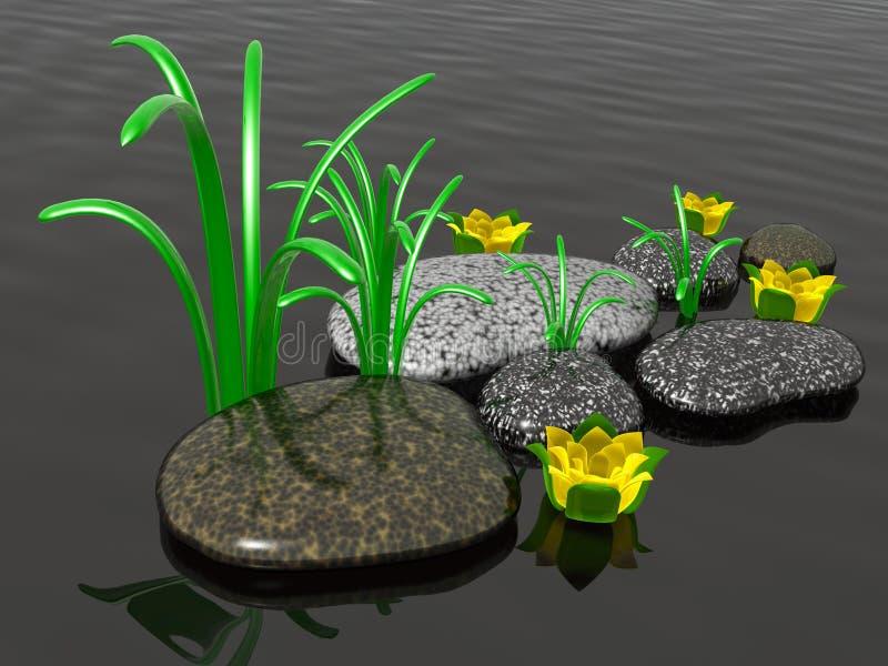 Badekurortsteine mit Gras vektor abbildung