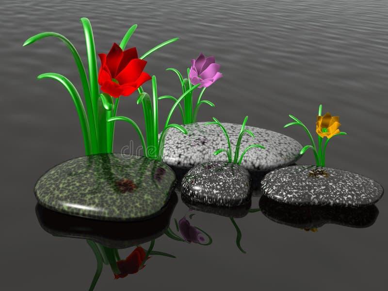 Badekurortsteine mit Gras und Blumen lizenzfreie abbildung