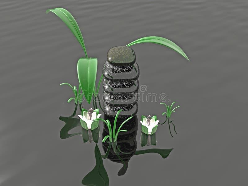 Badekurortsteine mit Gras und Blumen stock abbildung