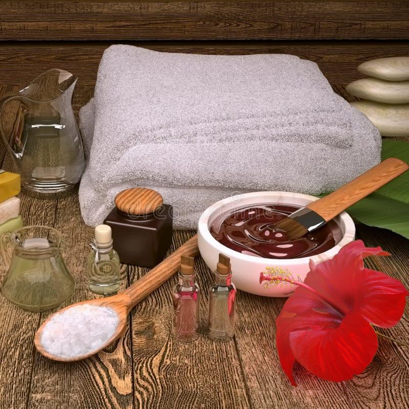 Badekurortstillleben mit Badekurortprodukten und Hibiscuse blühen stockfoto
