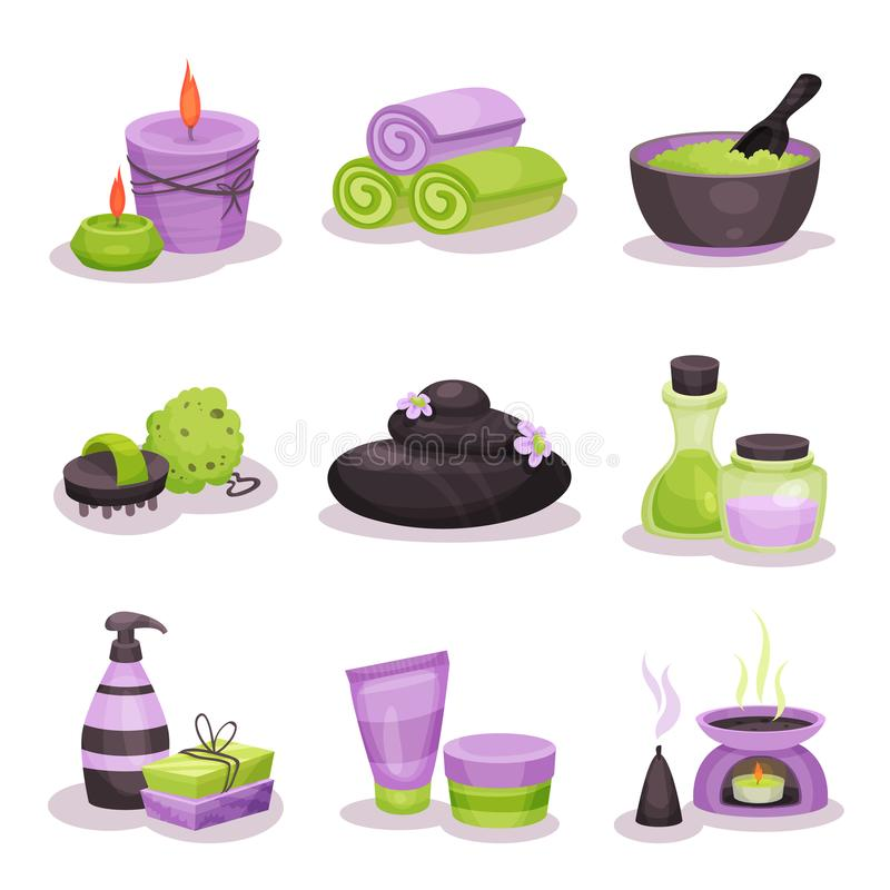 Badekurortzubehör stellte, Badekurelemente mit Basaltsteinen, Massageöl, Kerzen, Tuchvektor Illustrationen ein stock abbildung