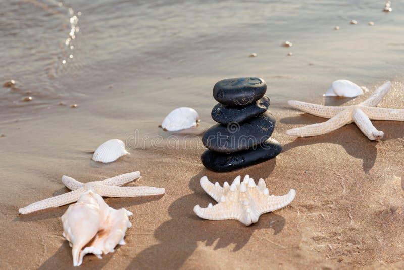 Badekurortzusammensetzung - stapelte Basalt-Steine, Muscheln und Seesterne auf dem Strand bei Sonnenaufgang vor dem Ozean lizenzfreie stockfotos