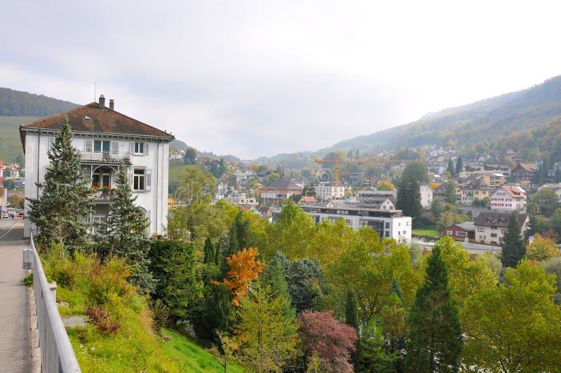Baden. Medieval street in Autumn, Baden, Switzerland stock images