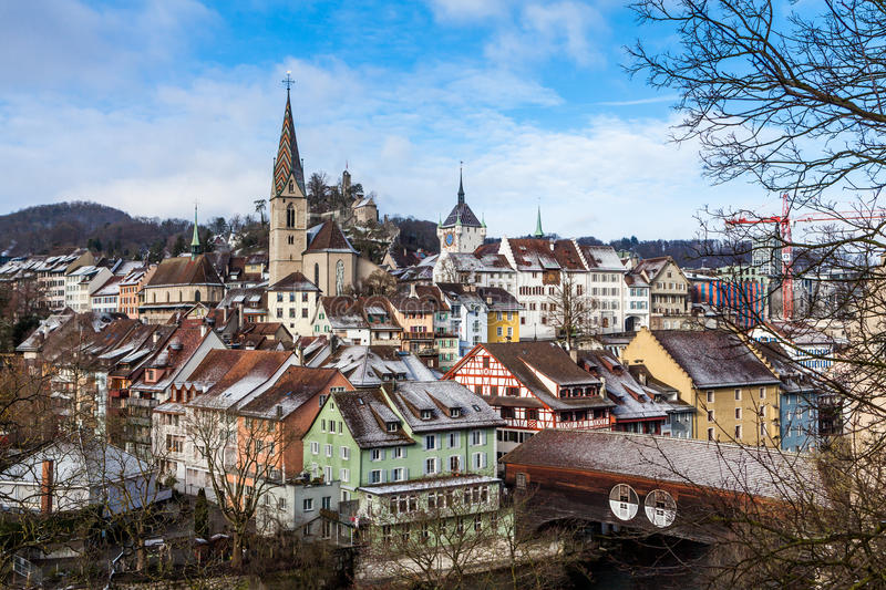 BADEN, AARGAU, SWITZERLAND. JANUARY 31: Typical view to the city of Baden on January 31, 2015. Baden is a municipality in the Swiss canton of Aargau, located stock photo