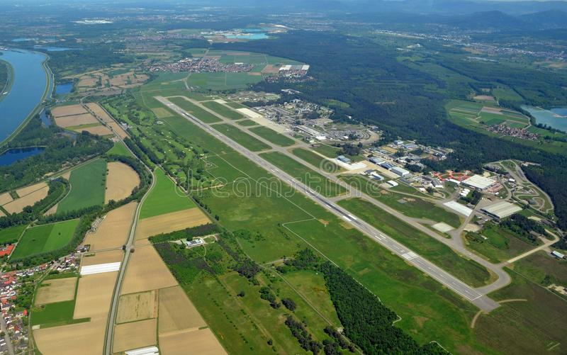 Baden Airpark. Aerial view of the baden Airpark, home of the Airport Karlsruhe Baden-Baden, view of the entire airport area inccluding the Baden Hills Golf stock image