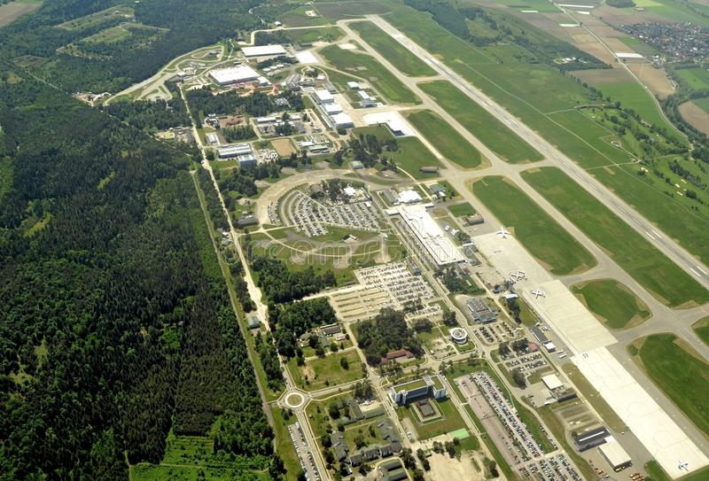 Baden Airpark aerial. Aerial view of the Baden Airpark near Baden-Baden view of the Airport terminal with some of the aircraft on the taxiway; former Canadian royalty free stock image