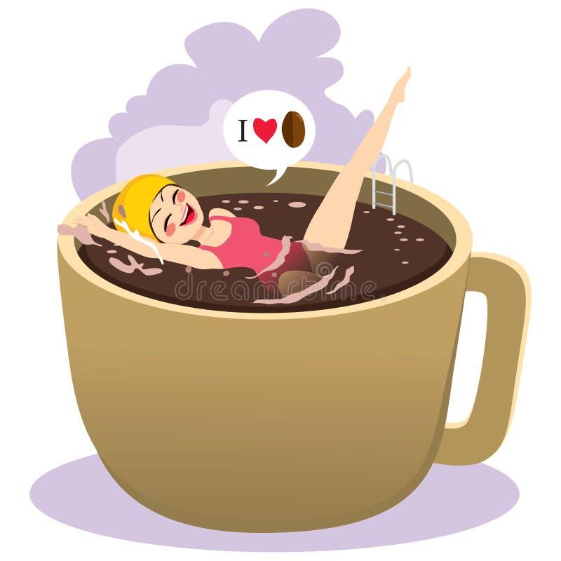Baden auf Kaffee lizenzfreie abbildung