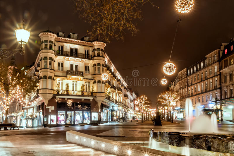 BADEN-BADEN, GERMANY DECEMBER 11: CITY CHRISTMAS DECORATION at stock photography