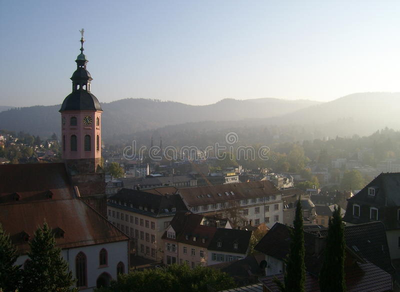 Baden Baden urban architecture. View of Baden Baden with the Stiftskirche parish church dominating the city stock photos