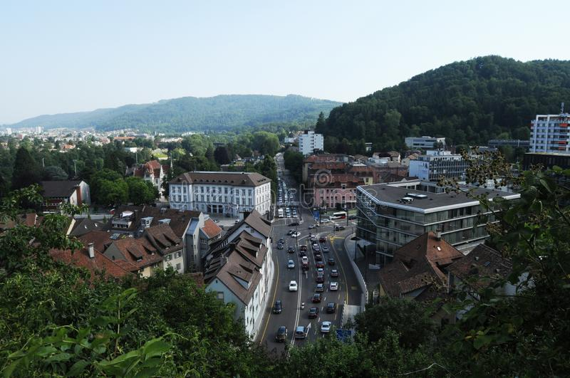 Baden City: The panoramic view from the Chateau to the main road cross royalty free stock photo