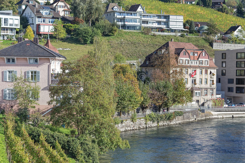 Baden cytiscape. Baden, Switzerland - autumn cityscape with the Limmat river stock image