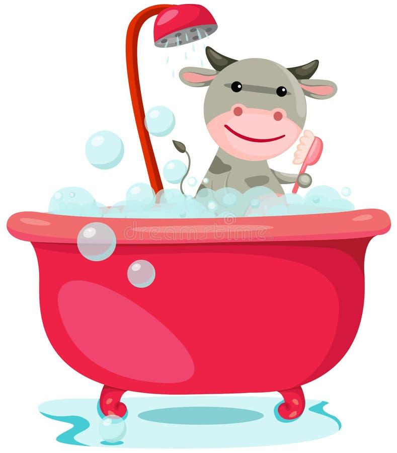 Baden der netten Kuh stock abbildung