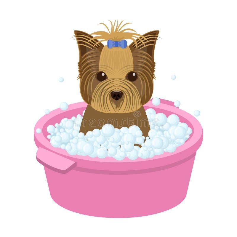 Baden des Haustierwelpen in einer Schüssel Hund, Haustier, einzelne Ikone der Hundesorgfalt stock abbildung