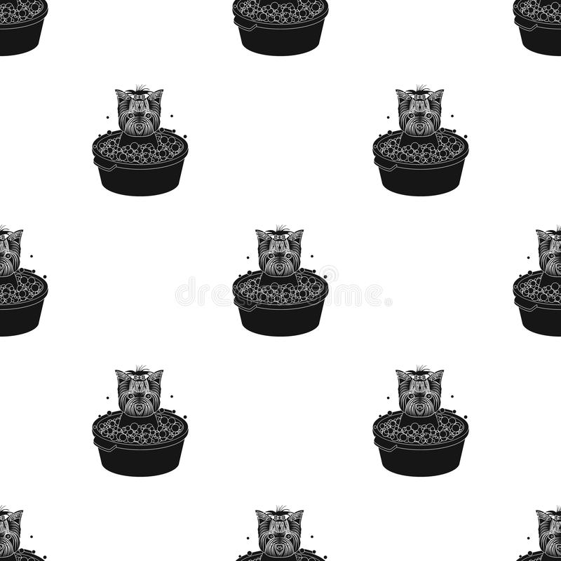 Baden des Haustierwelpen in einer Schüssel Hund, Haustier, einzelne Ikone der Hundesorgfalt im schwarzen Artvektorsymbolvorrat-Il lizenzfreie abbildung