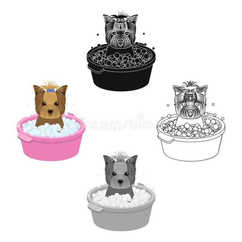 Baden des Haustierwelpen in einer Sch?ssel Hund, Haustier, einzelne Ikone der Hundesorgfalt in der Karikatur, schwarzes Artvektor stock abbildung