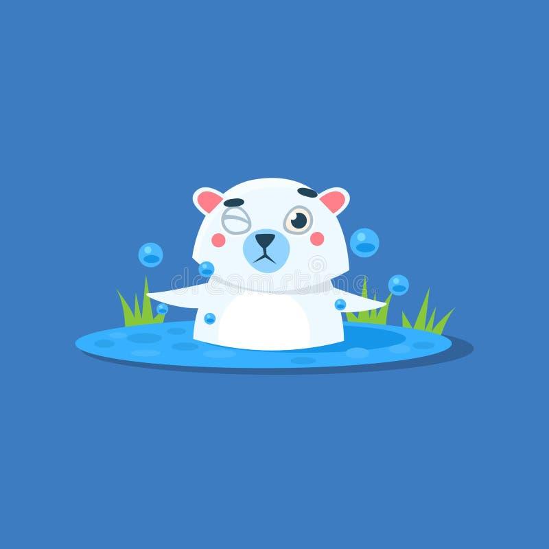 Baden in Eis-Loch Eisbären vektor abbildung