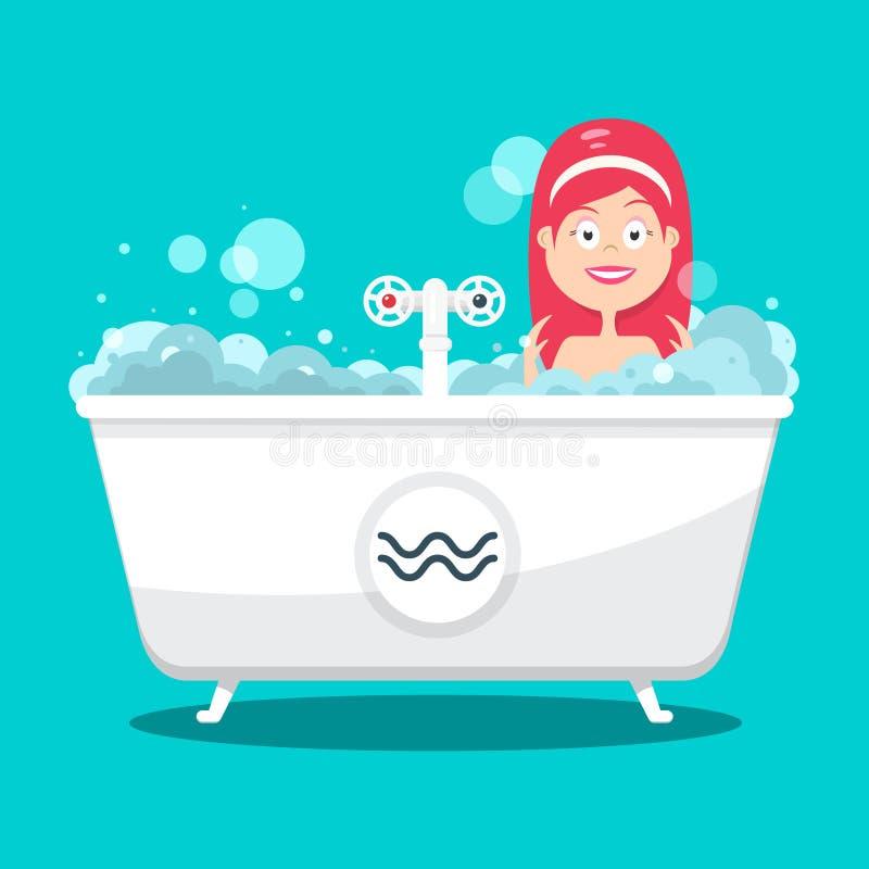 Baden Frau in der Badewanne voll Schaum-von der flachen Entwurfs-Karikatur auf blauem Hintergrund stock abbildung