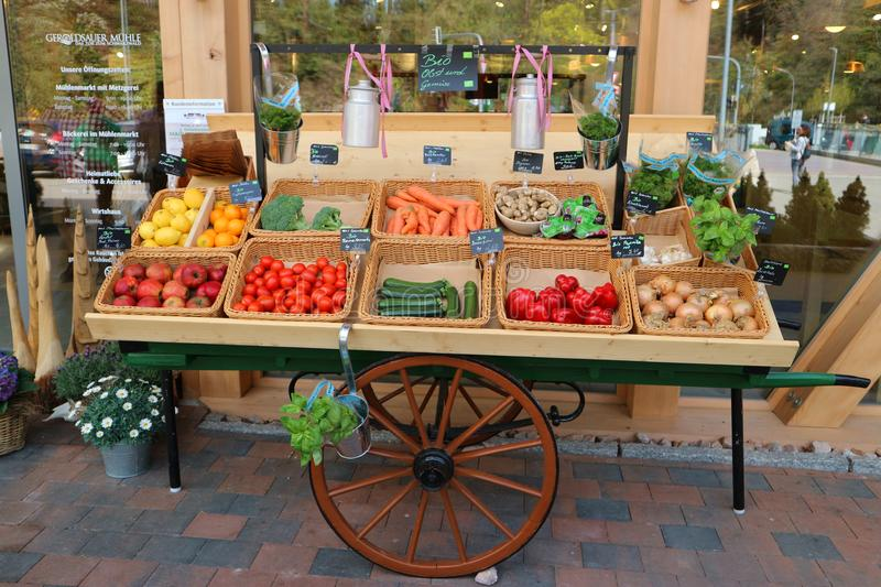 Baden-Baden, Germany, April 14th 2018: Cart with biological products royalty free stock photo