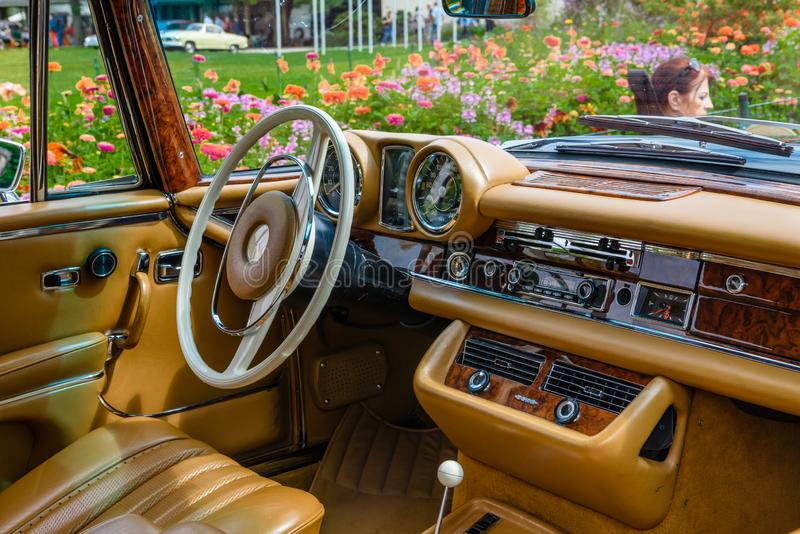BADEN BADEN, GERMANY - JULY 2019: beige brown leather interior of MERCEDES-BENZ S CLASS W108, W109 1965 cabrio, oldtimer meeting royalty free stock photos