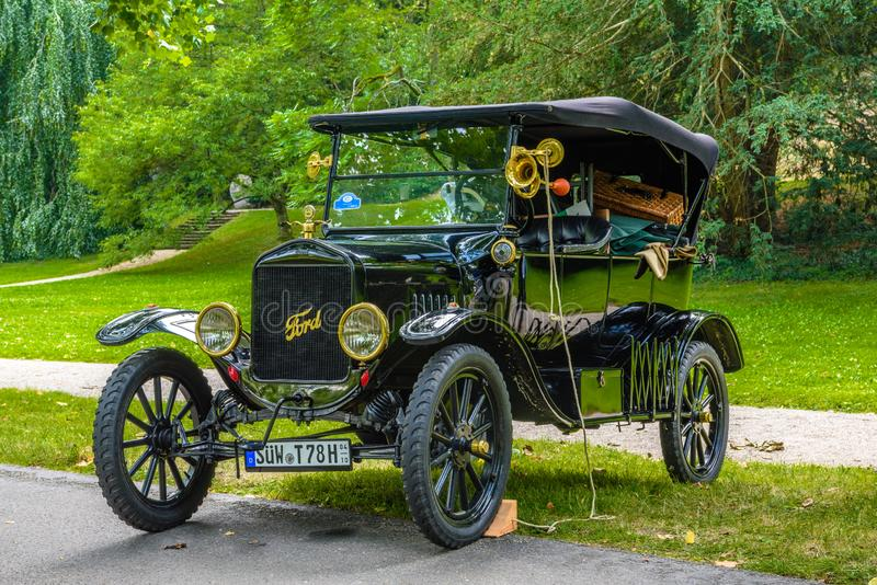 BADEN BADEN, GERMANY - JULY 2019: black FORD MODEL A T 1927 cabrio roadster, oldtimer meeting in Kurpark stock photos