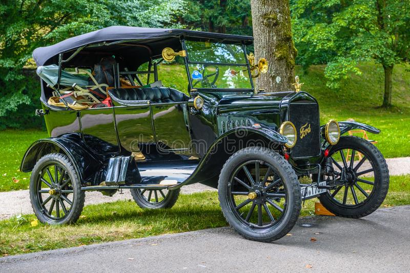 BADEN BADEN, GERMANY - JULY 2019: black FORD MODEL A T 1927 cabrio roadster, oldtimer meeting in Kurpark stock photography