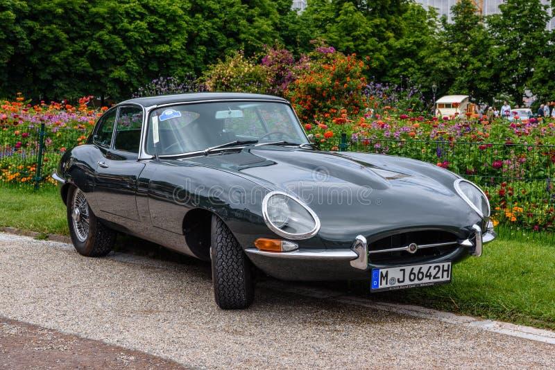 BADEN BADEN, GERMANY - JULY 2019: black JAGUAR E-TYPE CHALLENGE 1974 cabrio roadster, oldtimer meeting in Kurpark royalty free stock photos