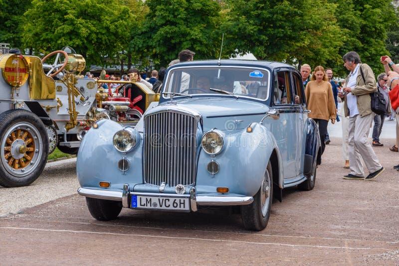 BADEN BADEN, GERMANY - JULY 2019: light blue BENTLEY R TYPE, oldtimer meeting in Kurpark royalty free stock photo