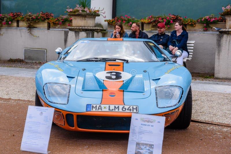 BADEN BADEN, GERMANY - JULY 2019: light blue orange FORD GT40 GT sport racing car, oldtimer meeting in Kurpark stock photo