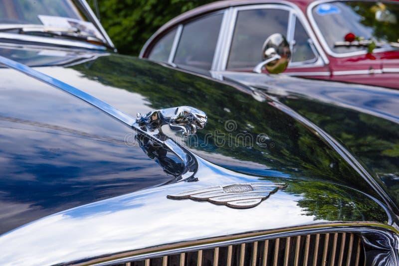 BADEN BADEN, GERMANY - JULY 2019: logo symbol sign emblem of black JAGUAR MARK X 420G 1961 1970 sedan limousine, oldtimer meeting stock photos