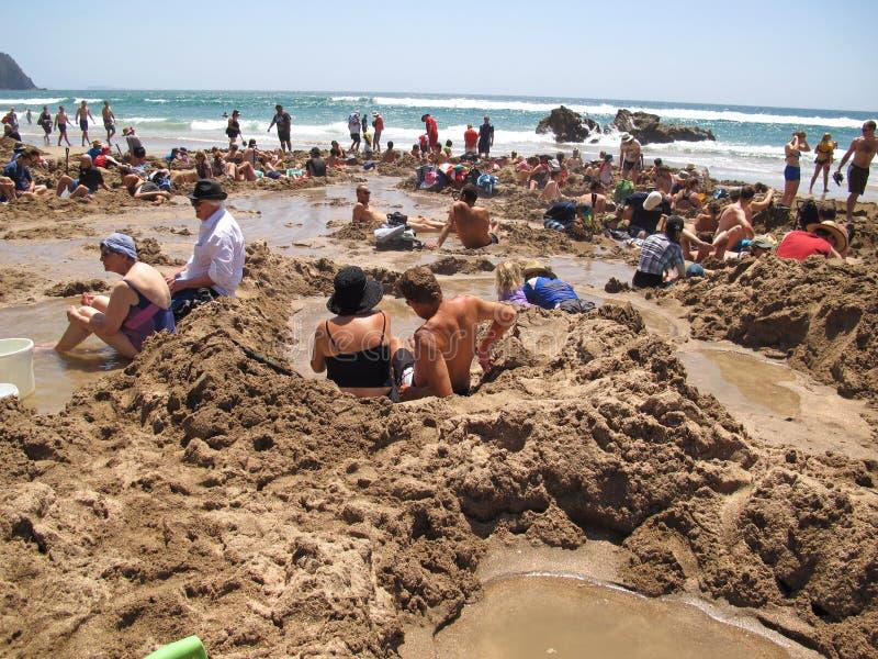 Heißwasser-Strand, Neuseeland lizenzfreies stockbild