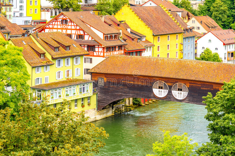 Baden old town in Switzerland. Landscape view on Baden old town with river and bridge in Switzerland stock photography