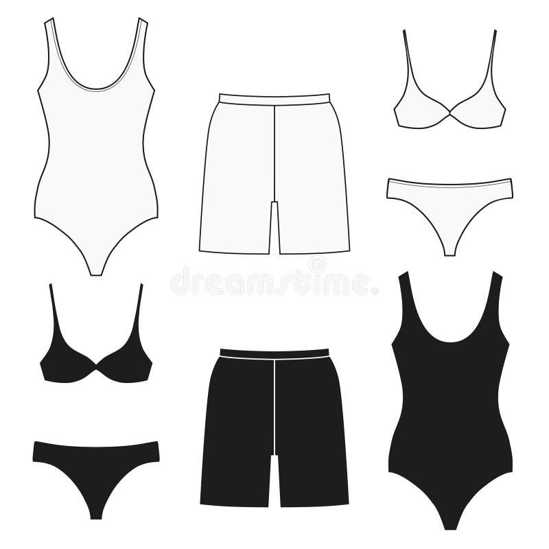 Baden von Kleidung f?r Frauen und M?nner Stellen Sie von den flachen lokalisierten Ikonen ein stock abbildung