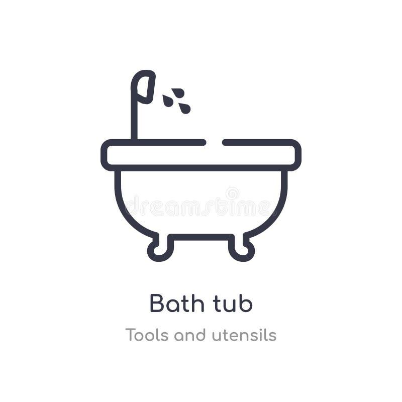 badet badar översiktssymbolen isolerad linje vektorillustration fr?n hj?lpmedel- och redskapsamling redigerbart tunt slaglängdbad stock illustrationer