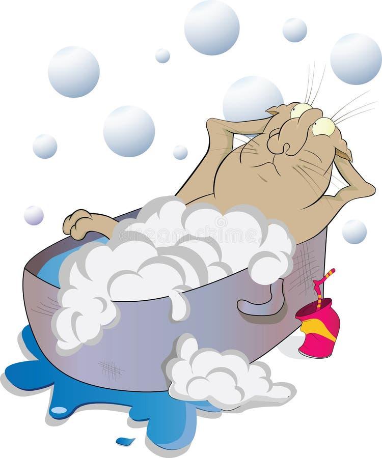 badet badar katten royaltyfri illustrationer
