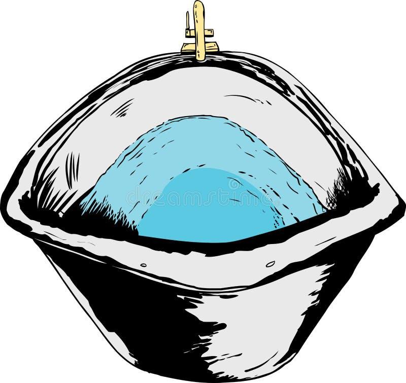 Badet badar mycket av vatten på vit bakgrund stock illustrationer