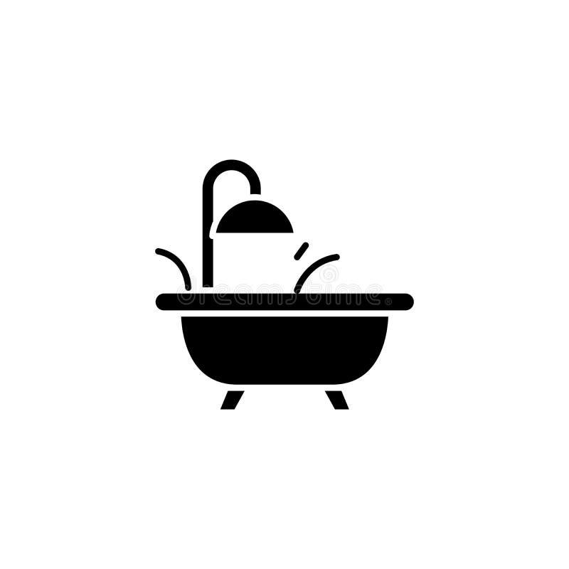 Badet badar svart symbolsbegrepp Badet badar det plana vektorsymbolet, tecknet, illustration stock illustrationer