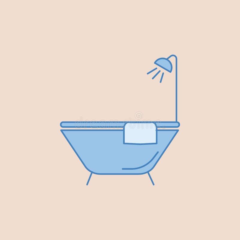 Badet badar symbolen Beståndsdel av badrummet för mobil begrepps- och rengöringsdukappsillustration Sätta in översiktssymbolen fö stock illustrationer