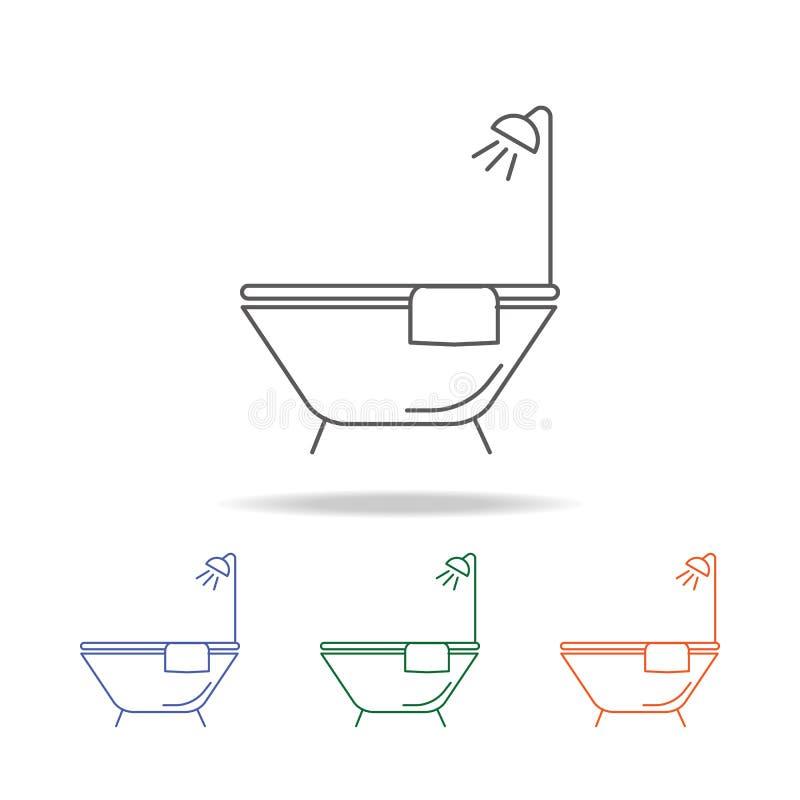 Badet badar symbolen Beståndsdelen av badrummet bearbetar den mång- kulöra symbolen för mobila begrepps- och rengöringsdukapps Sy royaltyfri illustrationer