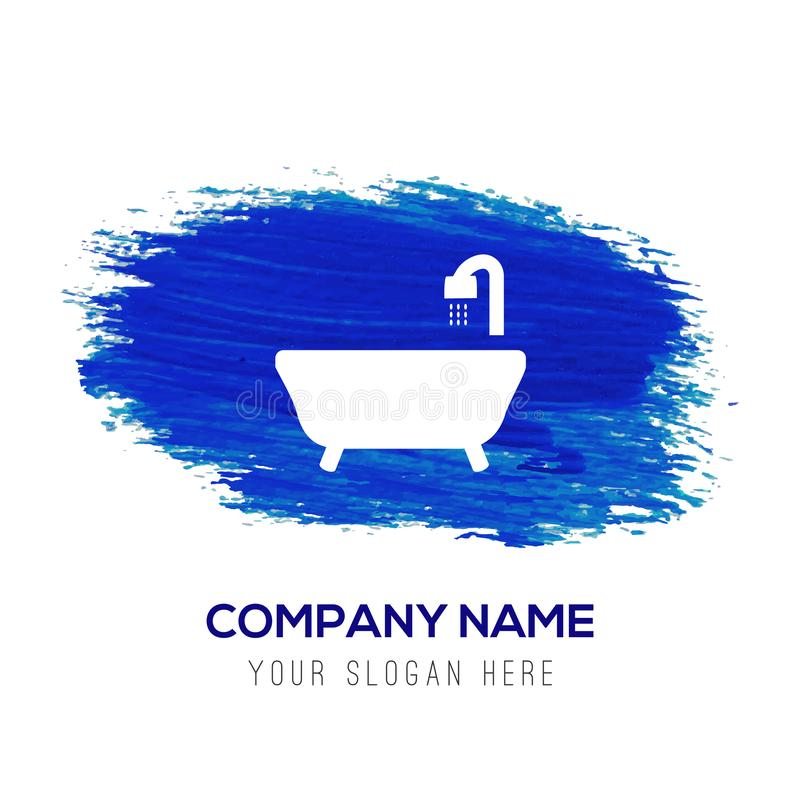 Badet badar symbolen - blå vattenfärgbakgrund stock illustrationer