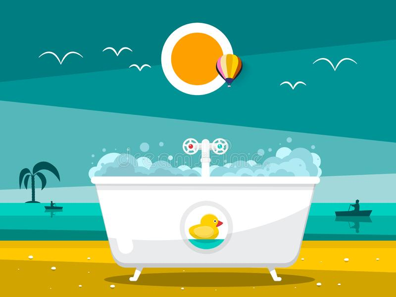 Badewanne auf Strand mit Ozean stock abbildung