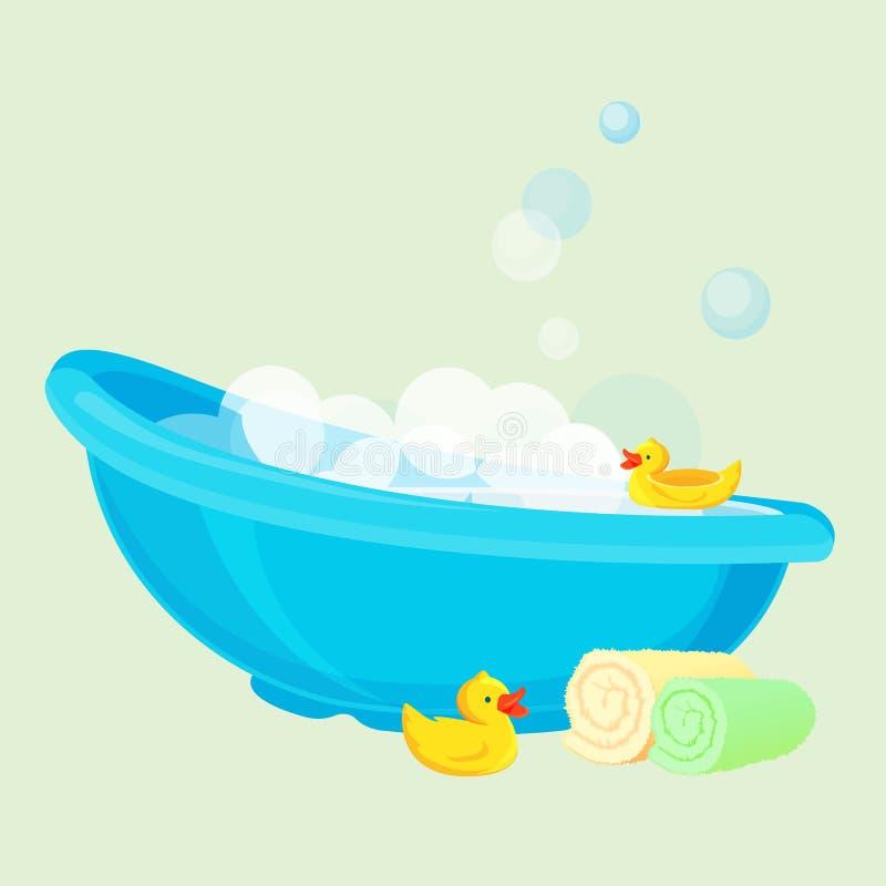 Badewanne für Kind voll von Blasen und mit Entenspielwaren stock abbildung