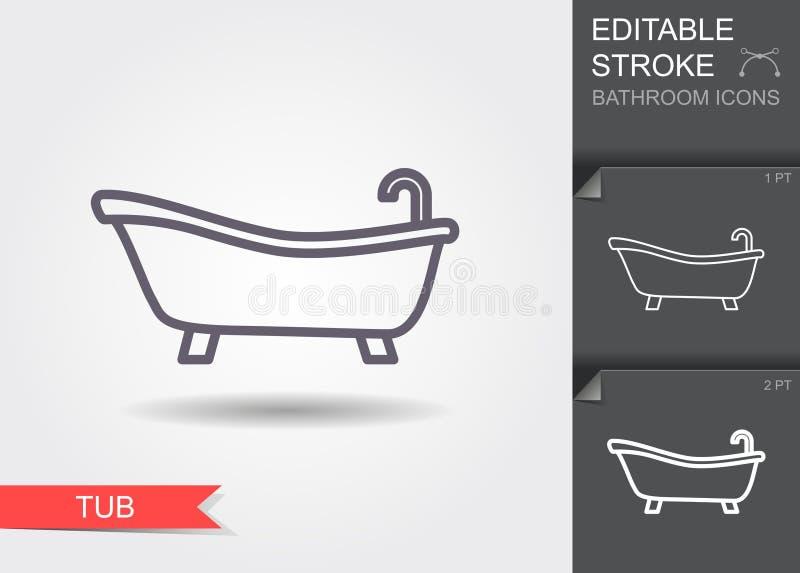 badewanne Linie Ikone mit editable Anschlag mit Schatten lizenzfreie abbildung