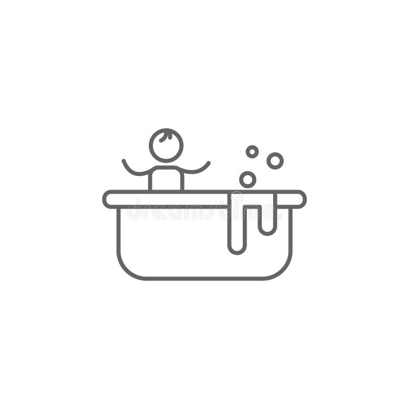 Badewanne, Mutter, Babyikone Element der Familienlebenikone D?nne Linie Ikone f?r Websitedesign und Entwicklung, APP-Entwicklung lizenzfreie abbildung