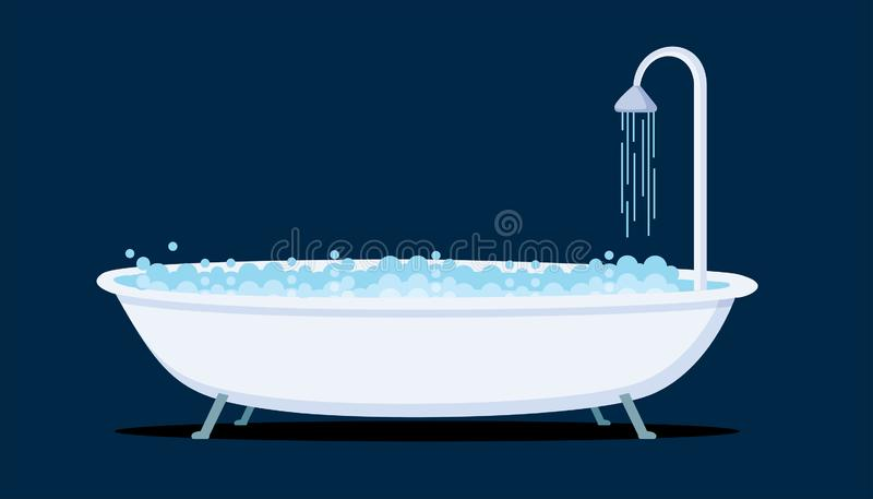 Badewannen-Ikonen-Vektor-Illustration lizenzfreie abbildung