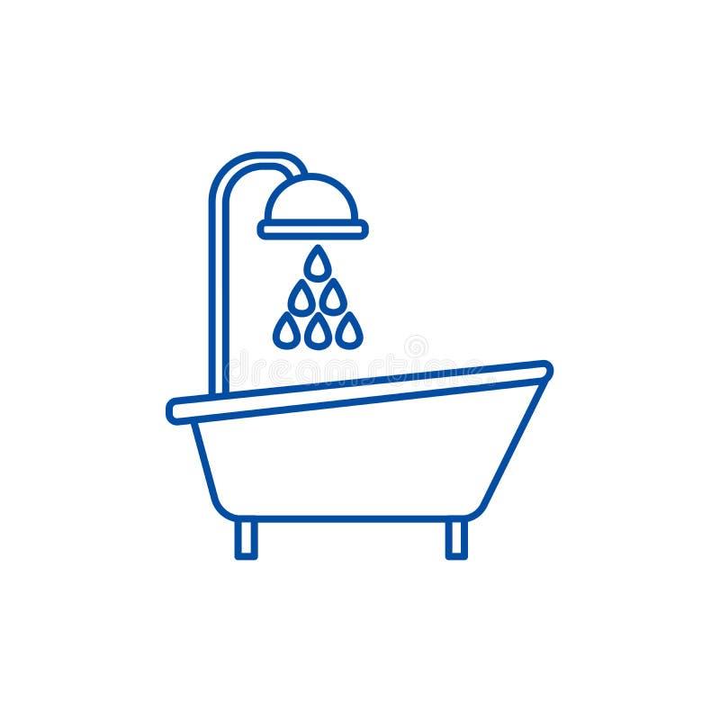 Badewannenduschlinie Ikonenkonzept Badewannenduschflaches Vektorsymbol, Zeichen, Entwurfsillustration vektor abbildung