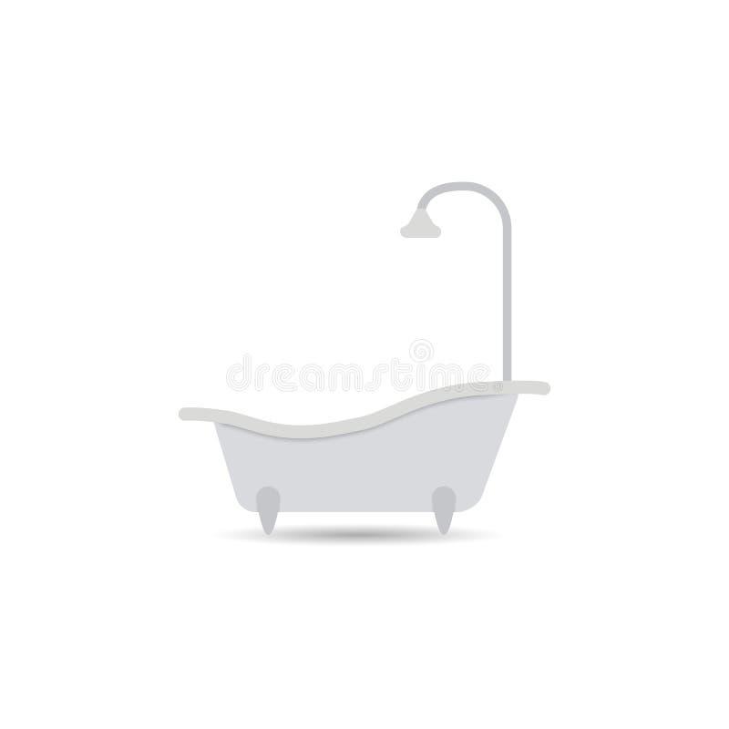 Badewannenikone Badewannenvektor lokalisiert auf einem hellen Hintergrund Element für Ihre Auslegung stock abbildung