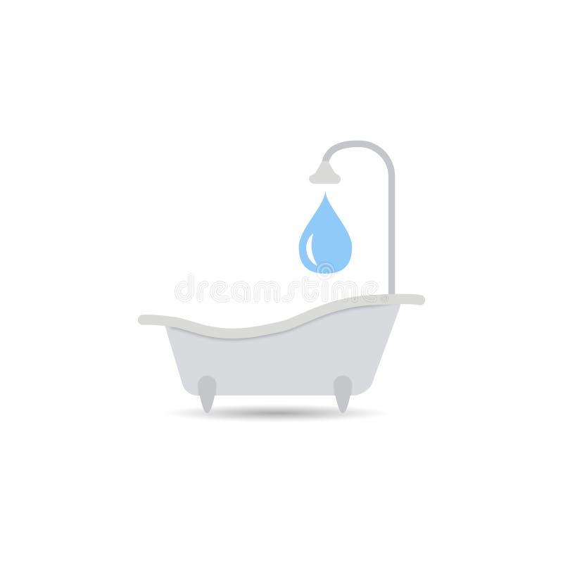 Badewannenikone Badewannenvektor lokalisiert auf einem hellen Hintergrund Element für Ihre Auslegung lizenzfreie abbildung