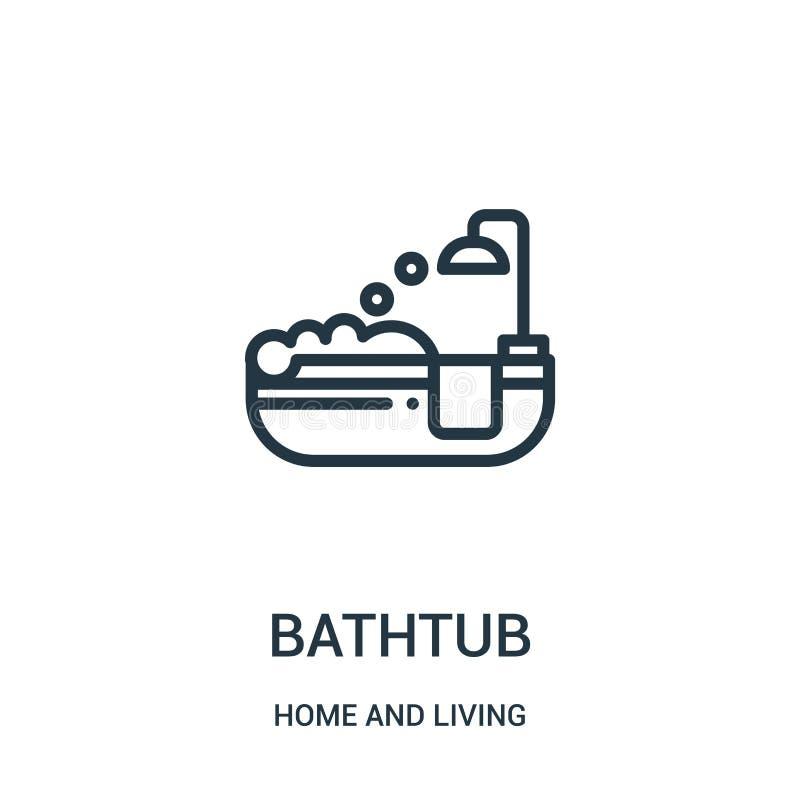 Badewannenikonenvektor vom Haus und von lebender Sammlung Dünne Linie Badewannenentwurfsikonen-Vektorillustration Lineares Symbol lizenzfreie abbildung