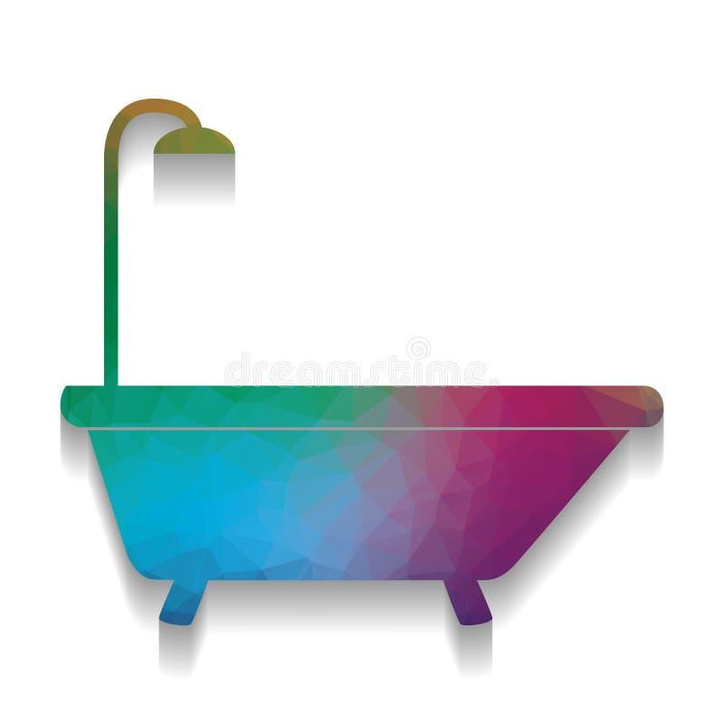 Badewannenzeichen Vektor Bunte Ikone mit heller Beschaffenheit von mosai vektor abbildung