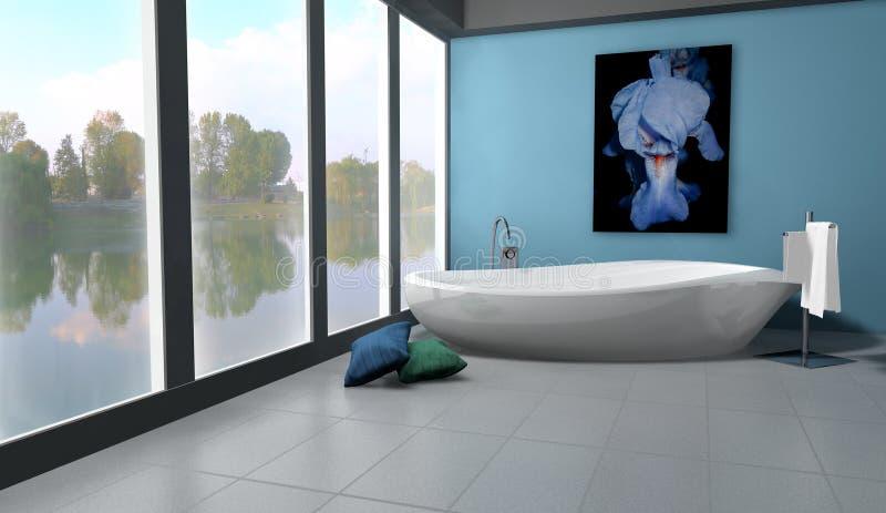 Badezimmer auf Seeufer stock abbildung